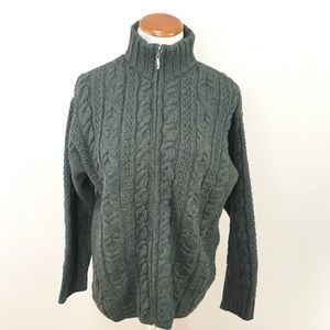 Aran Crafts Green Cable Knit Wool Sweater Coat